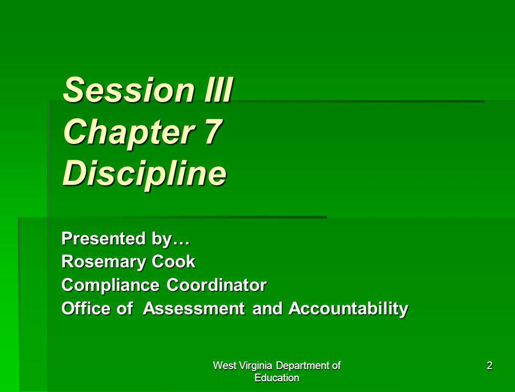 Session III Chapter 7 Discipline