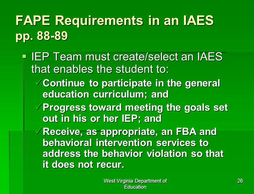 FAPE Requirements in an IAES pp. 88-89