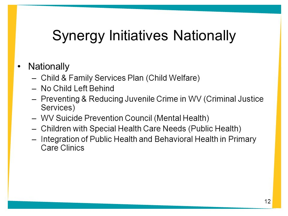 Synergy Initiatives Nationally