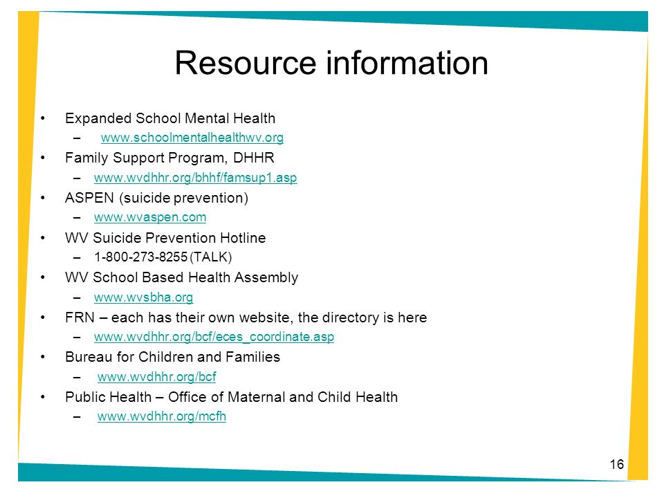 Resource information Expanded School Mental Health