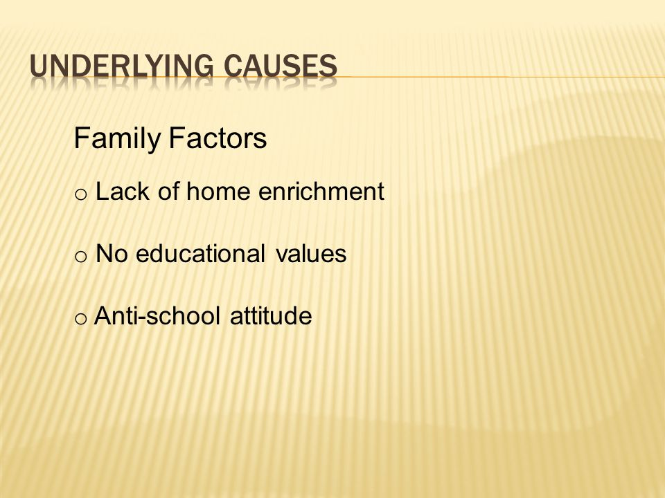 Underlying causes Family Factors Lack of home enrichment