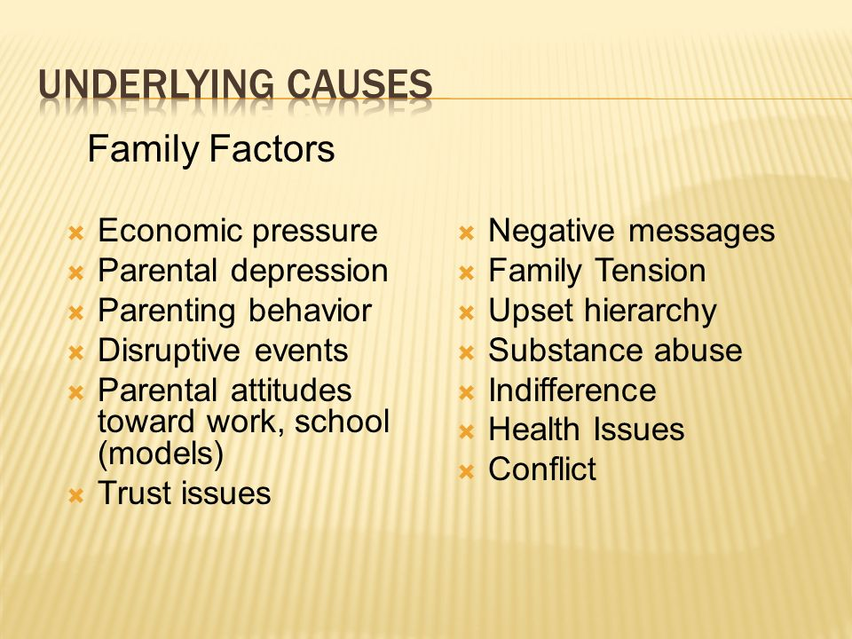 Underlying causes Family Factors Economic pressure Parental depression