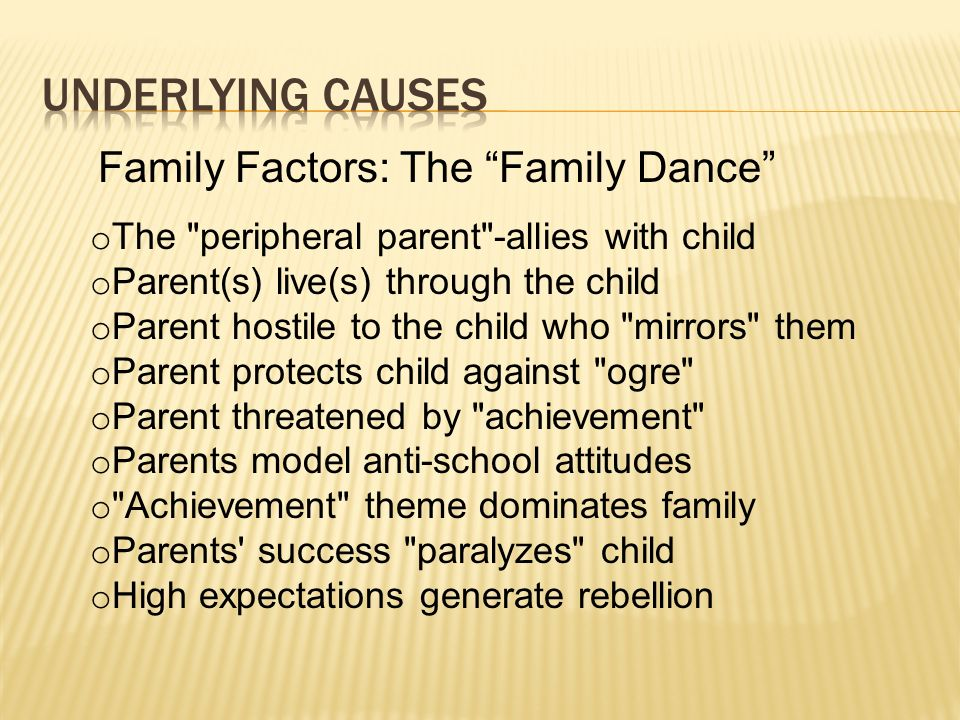 Underlying causes Family Factors: The Family Dance
