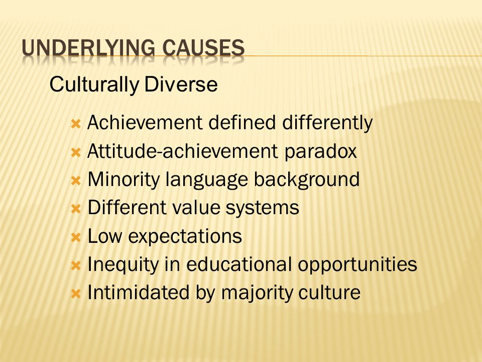 Underlying causes Culturally Diverse Achievement defined differently