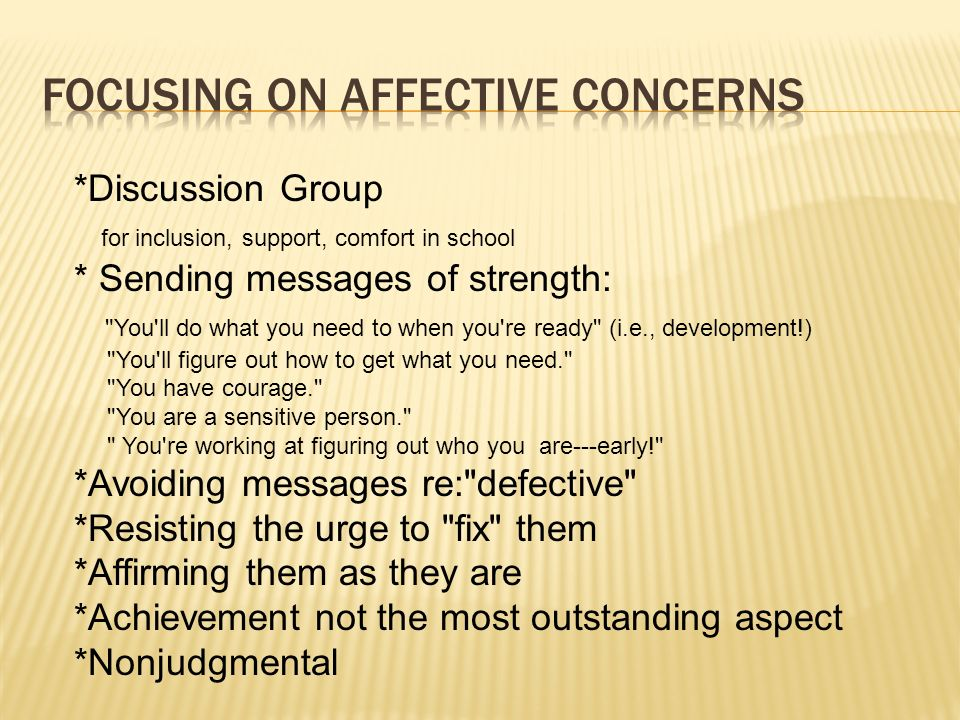 FOCUSING ON AFFECTIVE CONCERNS