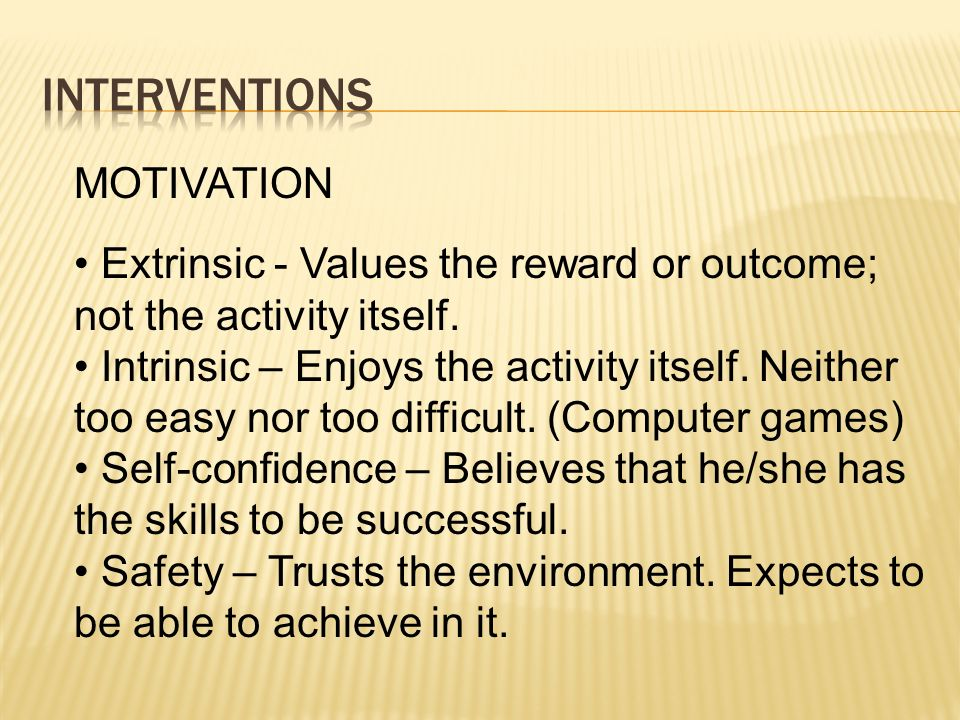 Interventions MOTIVATION