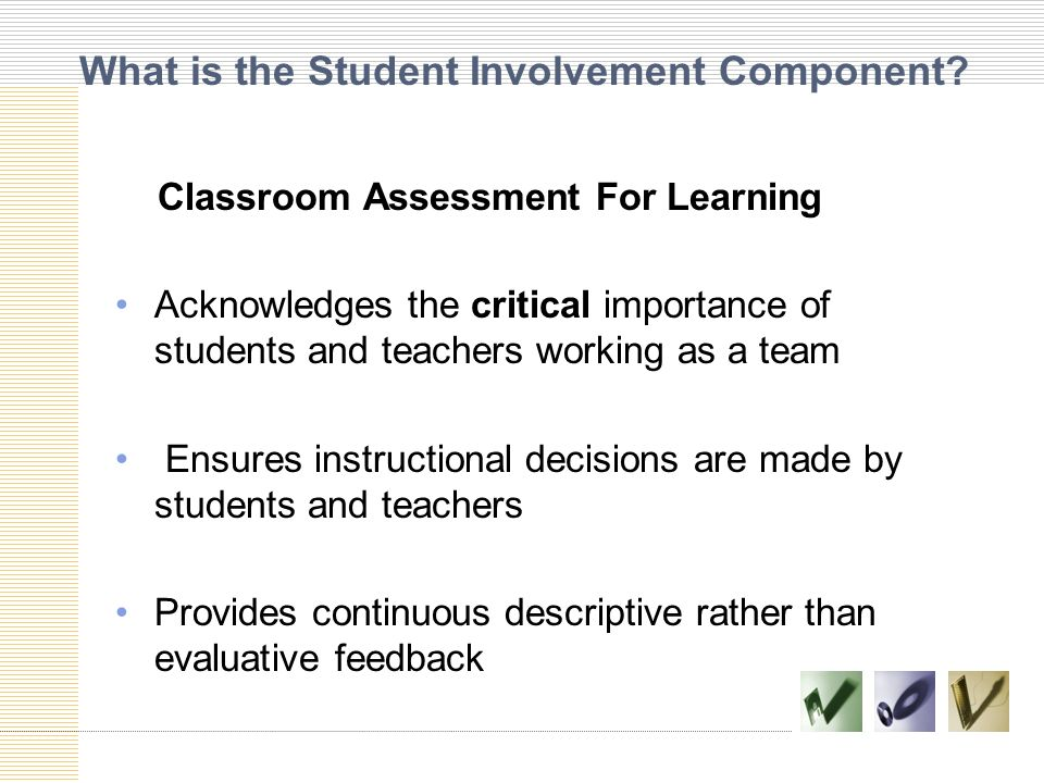 What is the Student Involvement Component