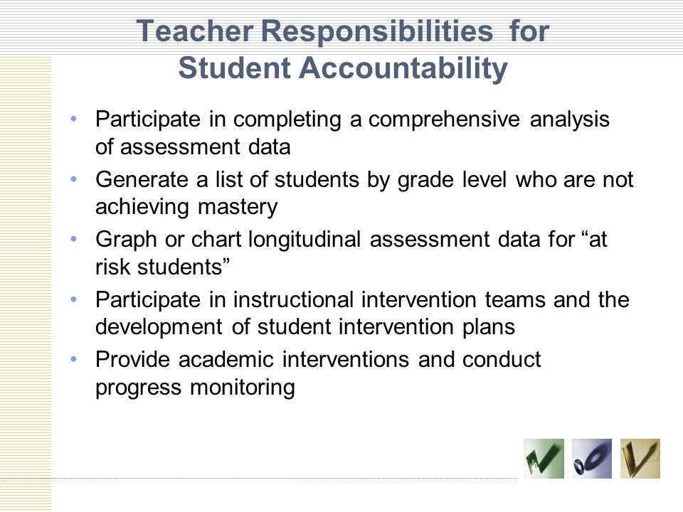 Teacher Responsibilities for Student Accountability