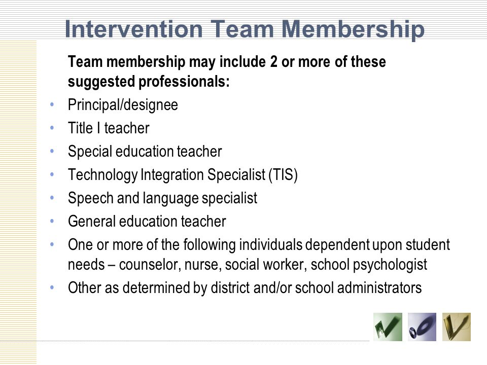 Intervention Team Membership
