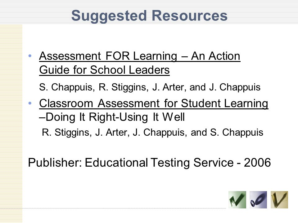 Suggested Resources Publisher: Educational Testing Service - 2006