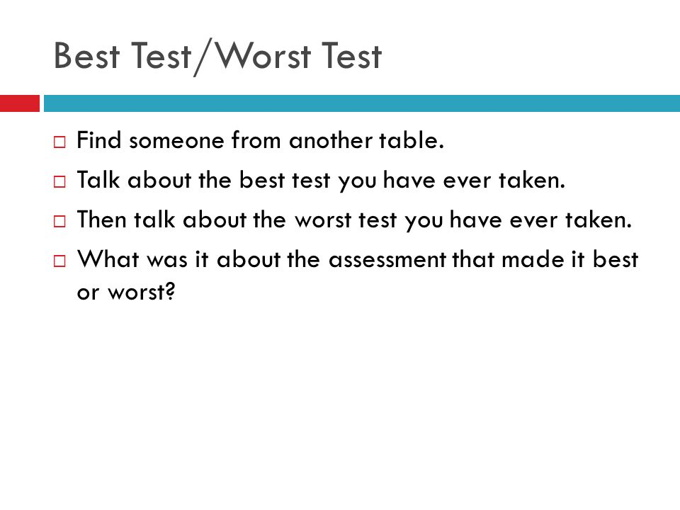 Best Test/Worst Test Find someone from another table.