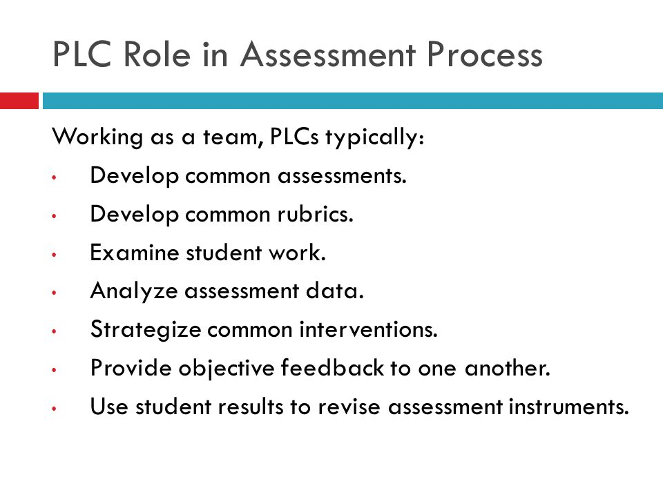 PLC Role in Assessment Process