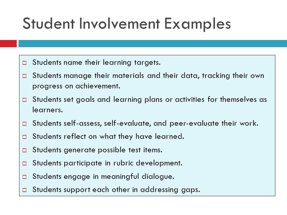 Student Involvement Examples