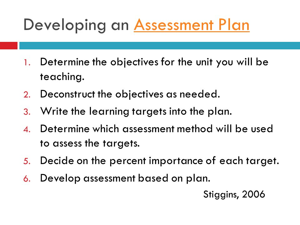 Developing an Assessment Plan