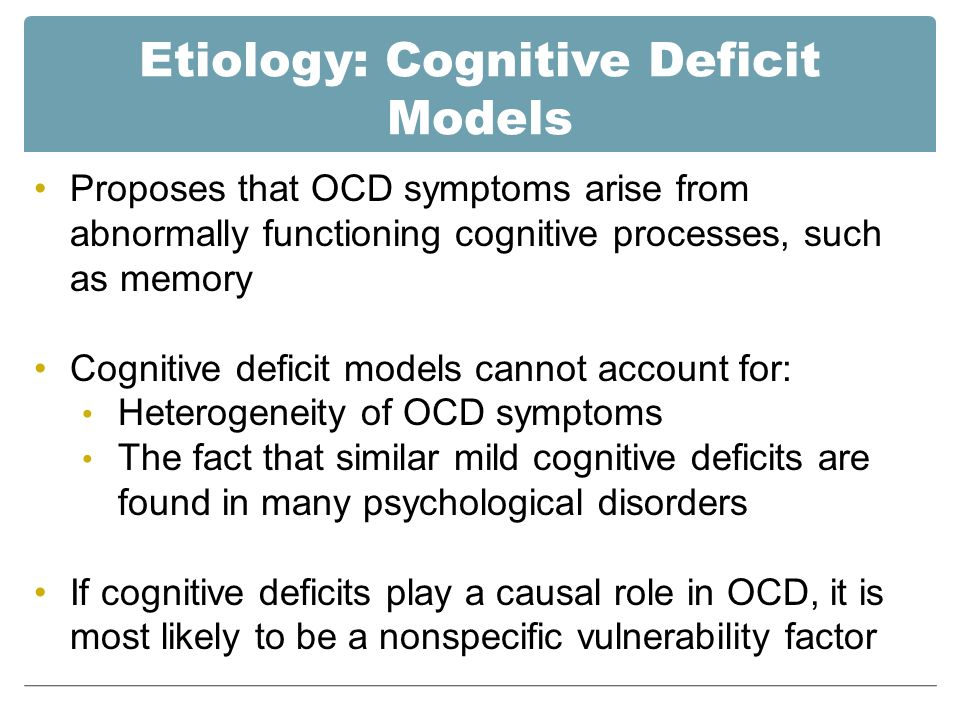 obsessive compulsive disorder and memory deficit People with obsessive-compulsive personality disorder do not necessarily have the more commonly discussed obsessive-compulsive disorder (ocd), although many.