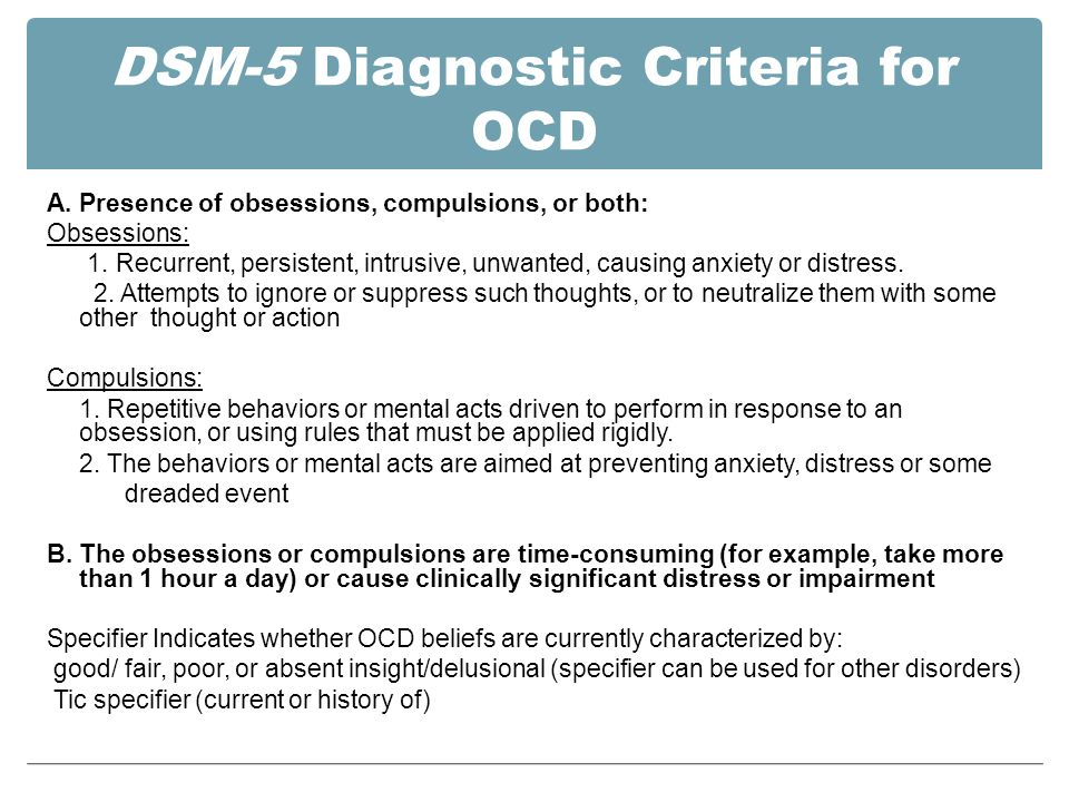 Dsm 5 Diagnosis Chapter 3 Obsessive Compulsive Disorder