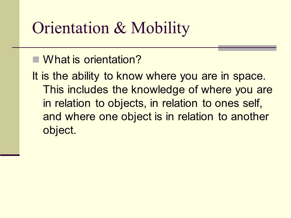 Orientation & Mobility