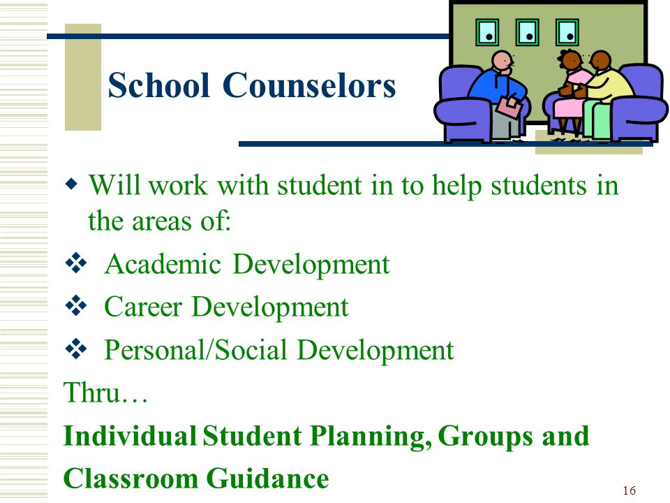 School Counselors Will work with student in to help students in the areas of: Academic Development.