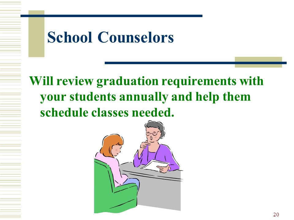 School Counselors Will review graduation requirements with your students annually and help them schedule classes needed.