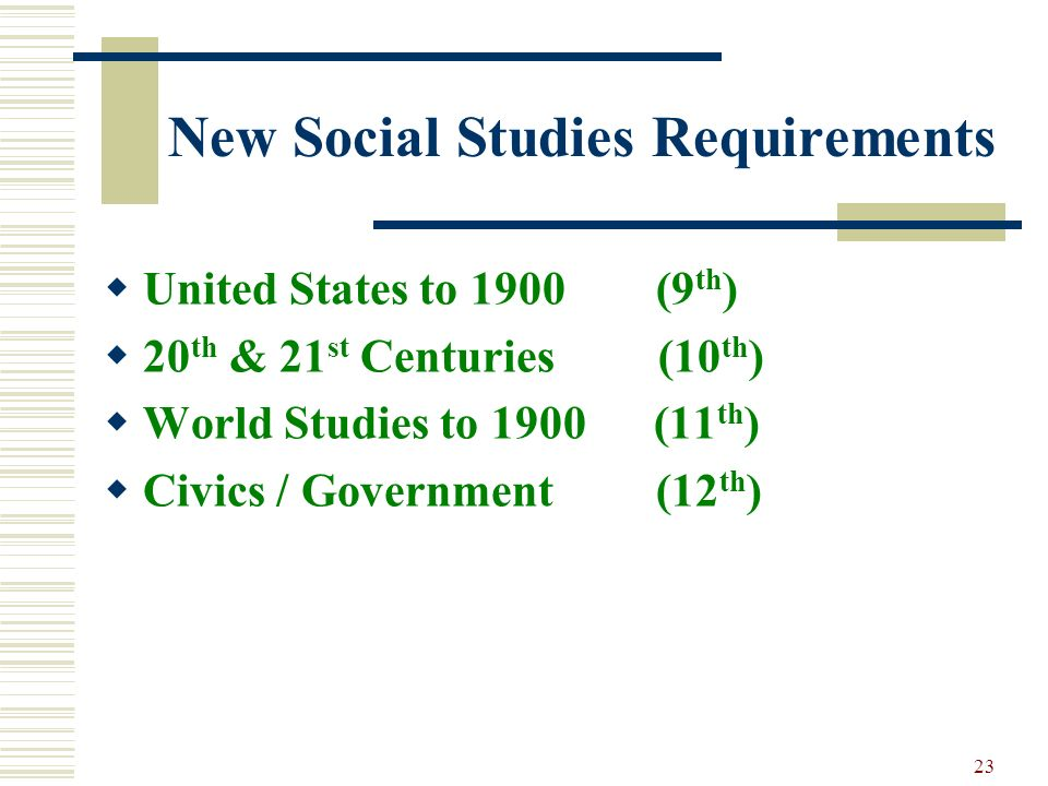 New Social Studies Requirements