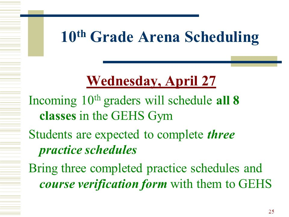10th Grade Arena Scheduling