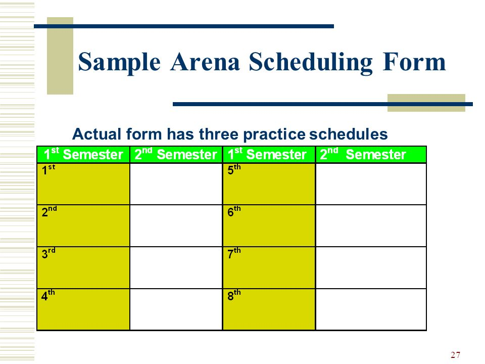 Sample Arena Scheduling Form