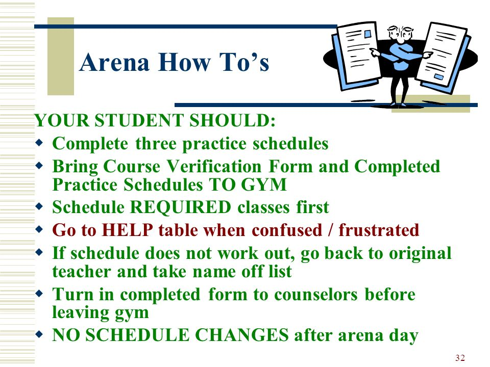 Arena How To's YOUR STUDENT SHOULD: Complete three practice schedules
