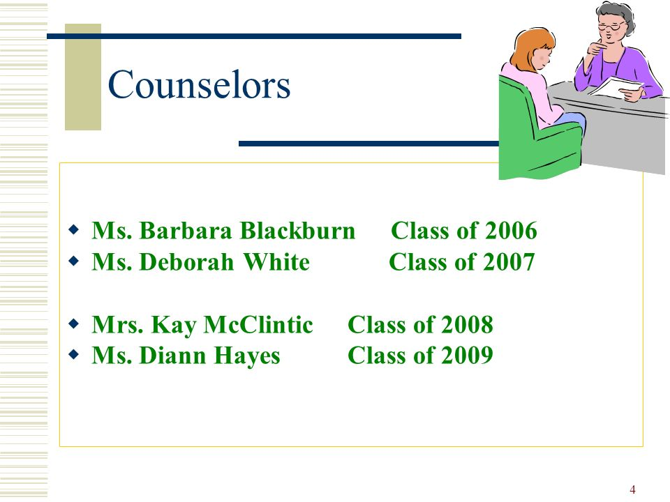 Counselors Ms. Barbara Blackburn Class of 2006