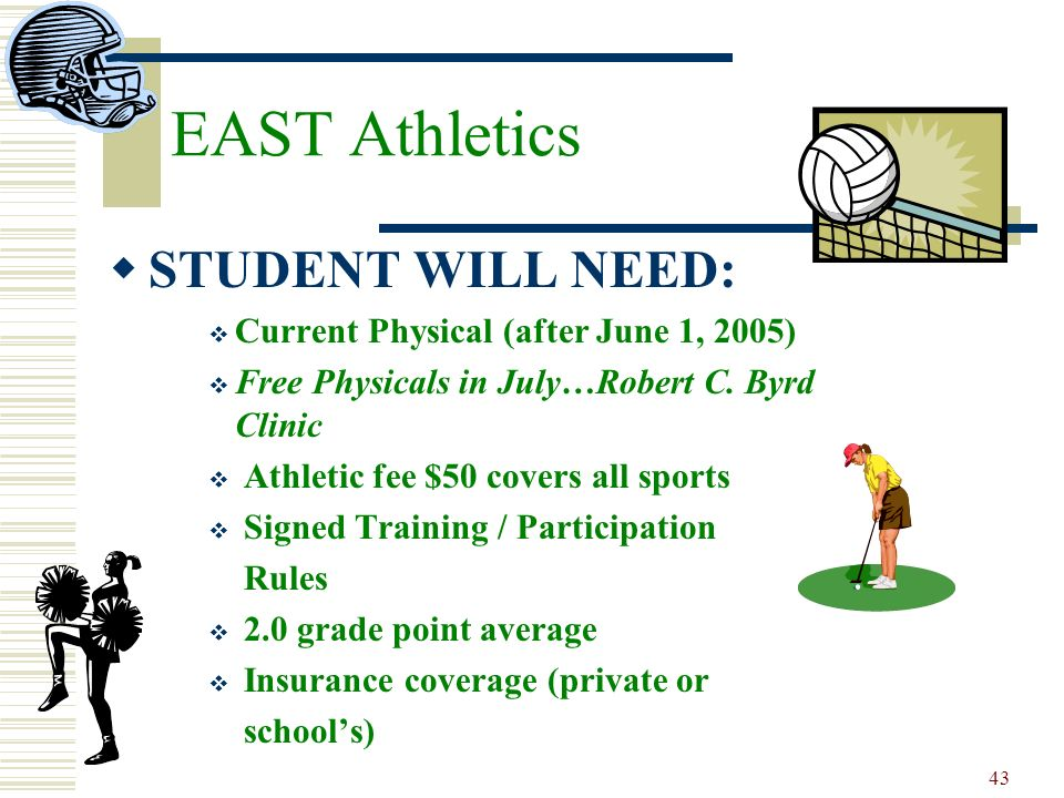 EAST Athletics STUDENT WILL NEED: