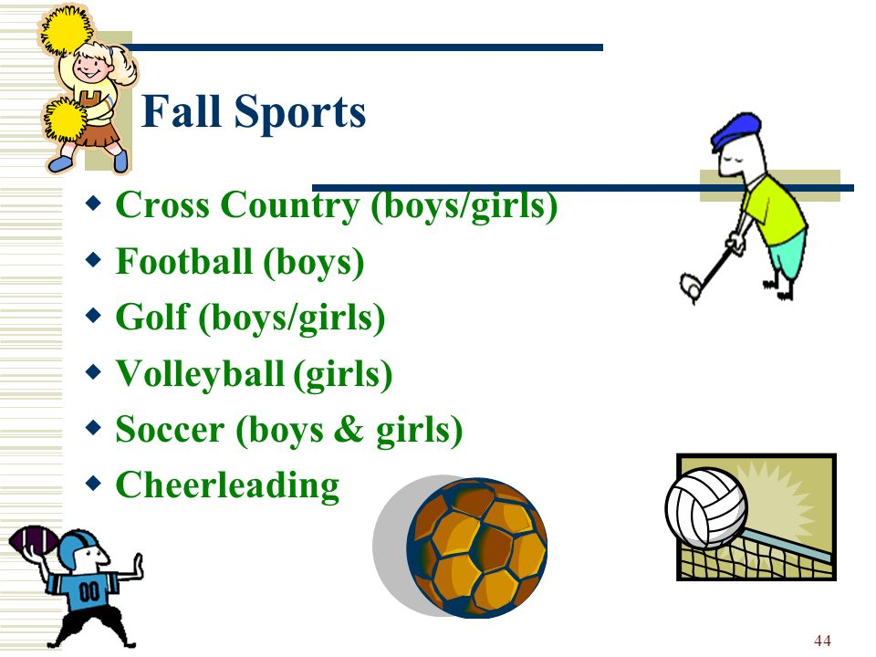 Fall Sports Cross Country (boys/girls) Football (boys)