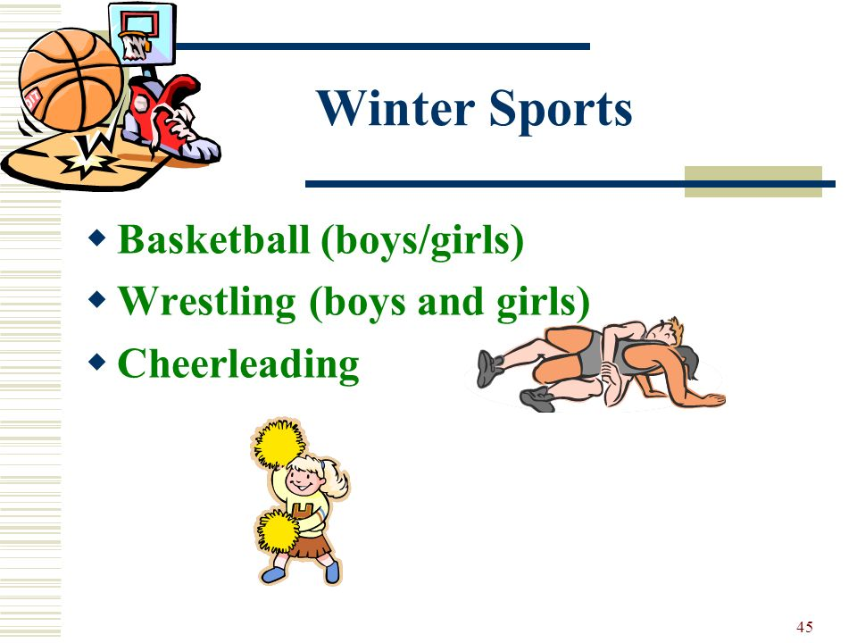 Winter Sports Basketball (boys/girls) Wrestling (boys and girls)