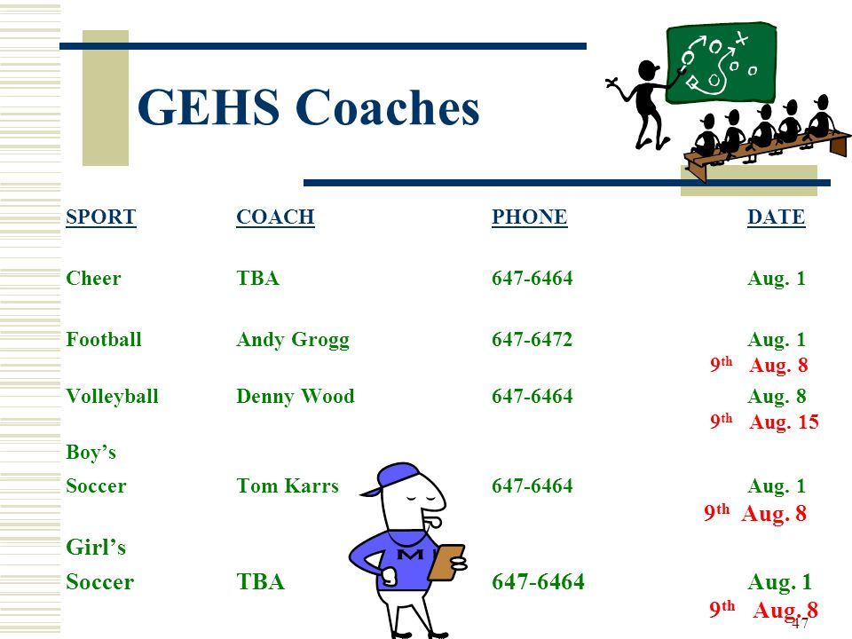 GEHS Coaches Girl's Soccer TBA 647-6464 Aug. 1 9th Aug. 8