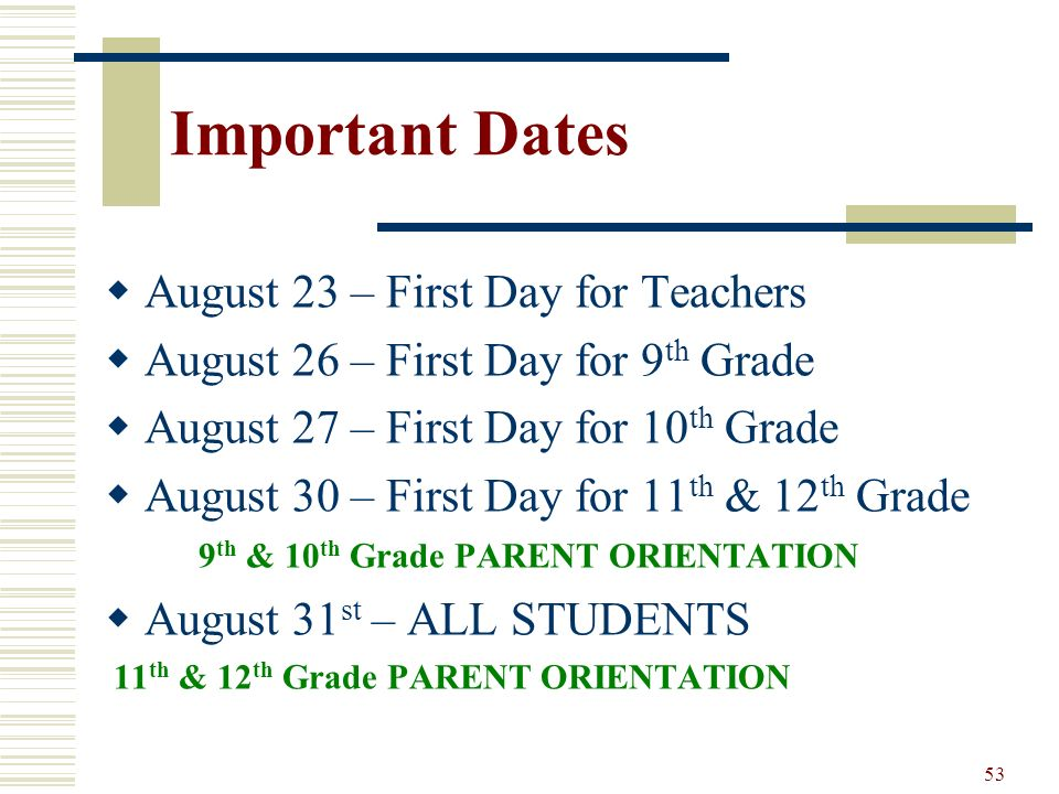 Important Dates August 23 – First Day for Teachers