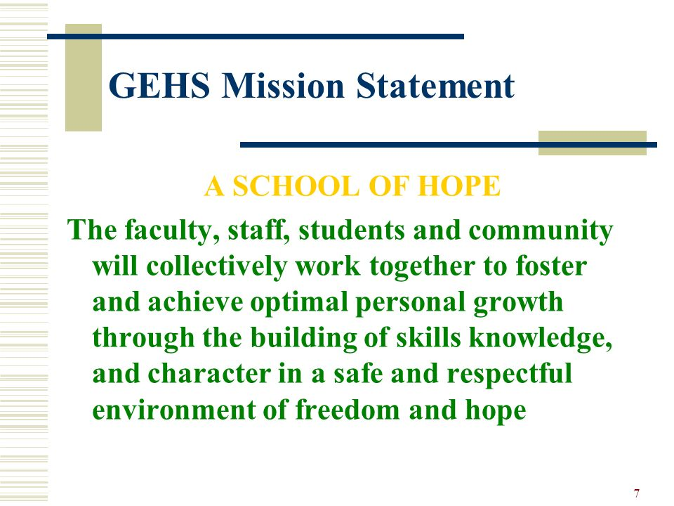GEHS Mission Statement