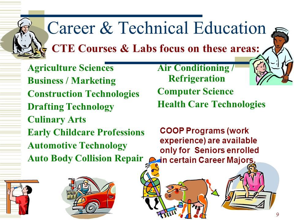 Career & Technical Education CTE Courses & Labs focus on these areas: