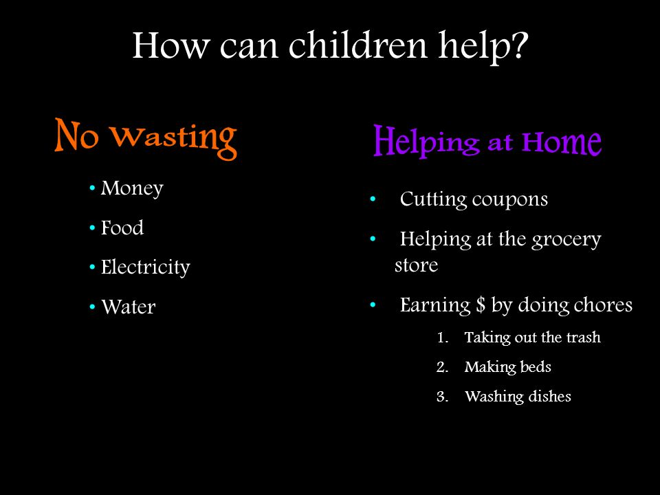 How can children help No Wasting Helping at Home Money Food