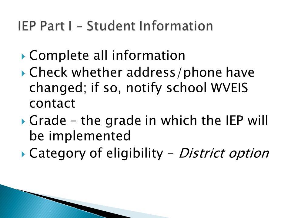 IEP Part I – Student Information