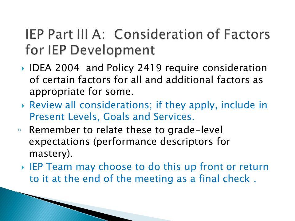 IEP Part III A: Consideration of Factors for IEP Development