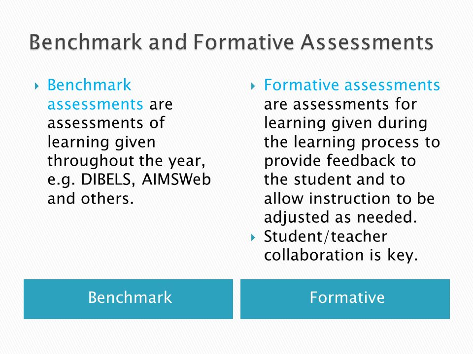 Benchmark and Formative Assessments