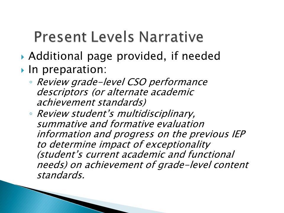 Present Levels Narrative