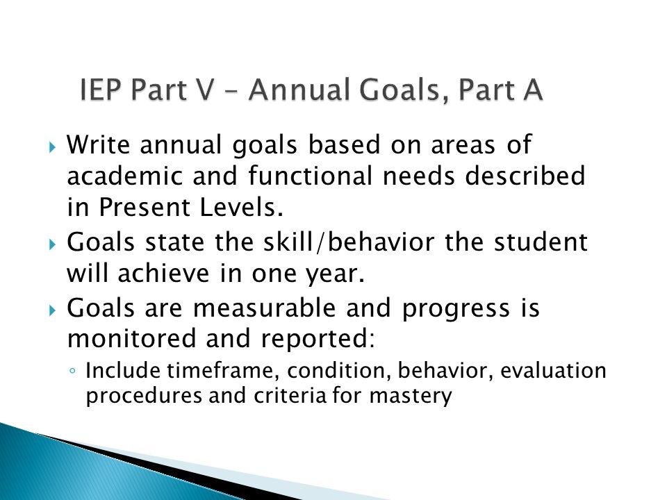 IEP Part V – Annual Goals, Part A