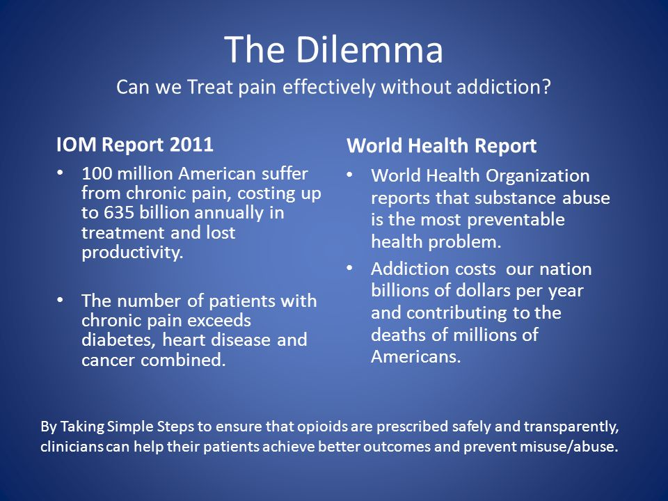 The Dilemma Can we Treat pain effectively without addiction