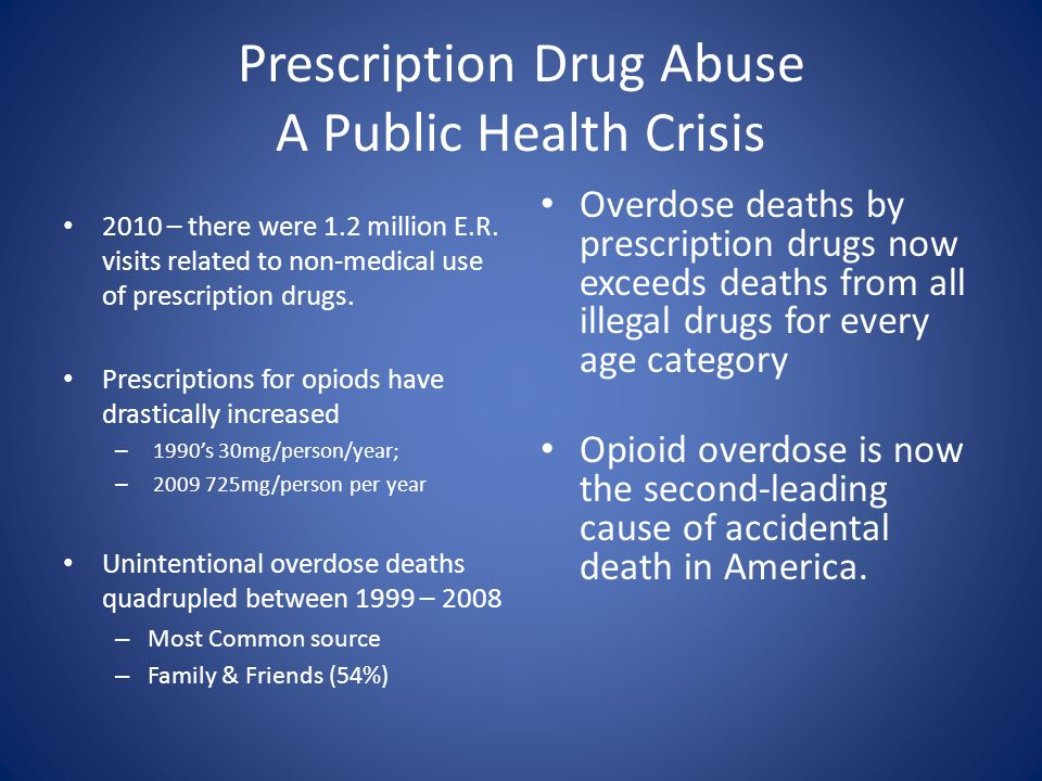 Prescription Drug Abuse A Public Health Crisis