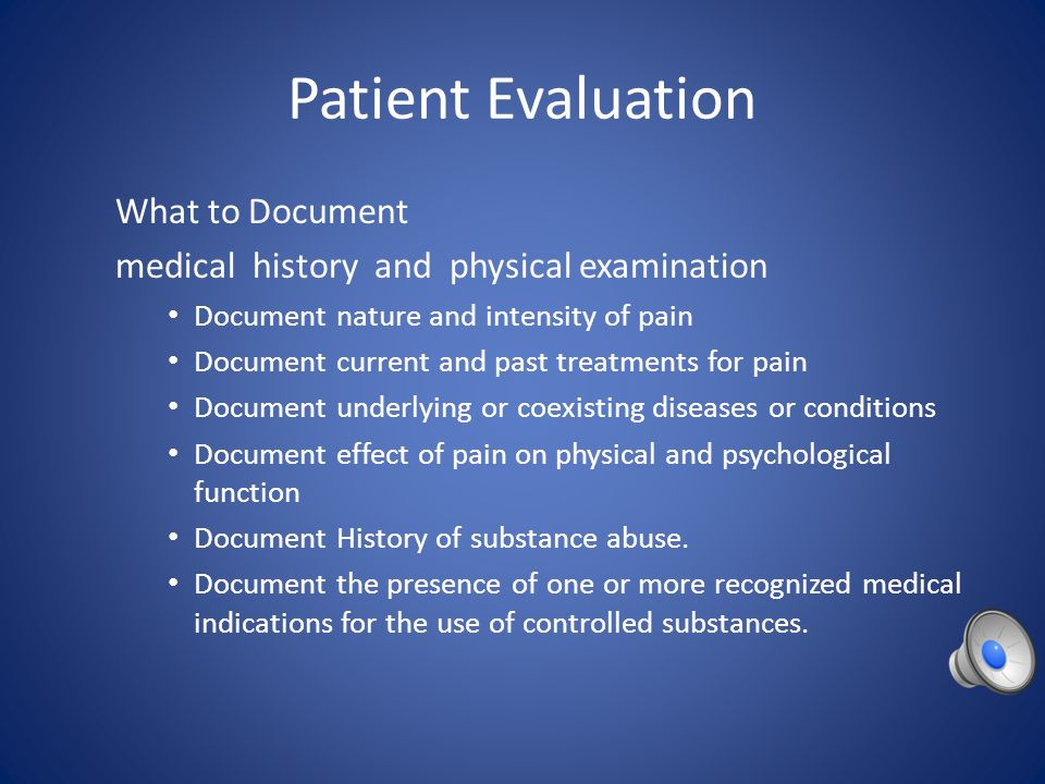 Patient Evaluation What to Document