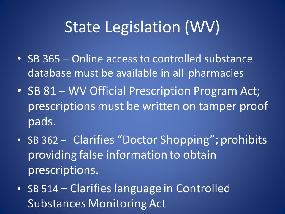 State Legislation (WV)