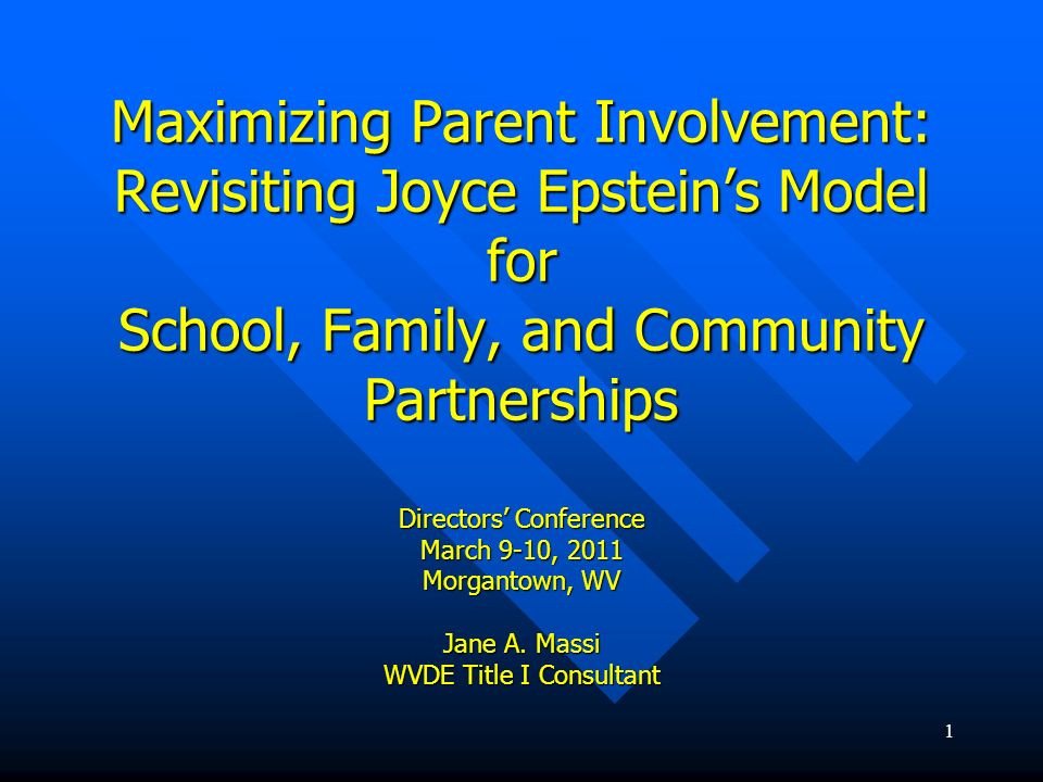 Maximizing Parent Involvement: Revisiting Joyce Epstein's Model for School, Family, and Community Partnerships Directors' Conference March 9-10, 2011 Morgantown, WV Jane A.