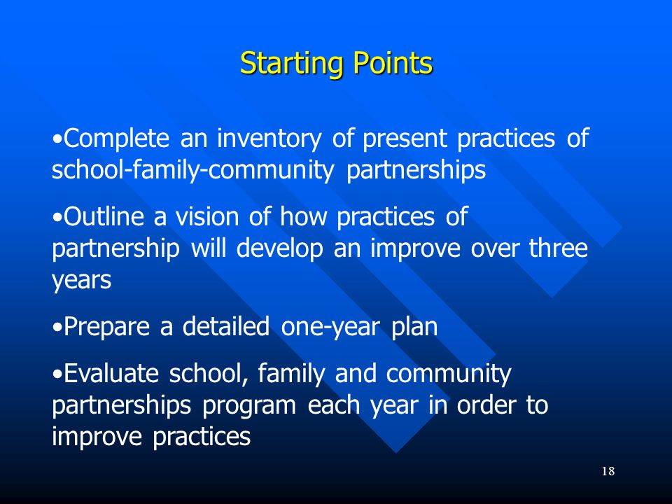 Starting Points Complete an inventory of present practices of school-family-community partnerships.