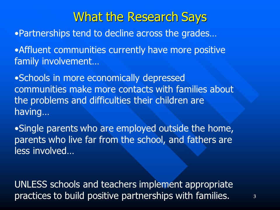 What the Research Says Partnerships tend to decline across the grades…