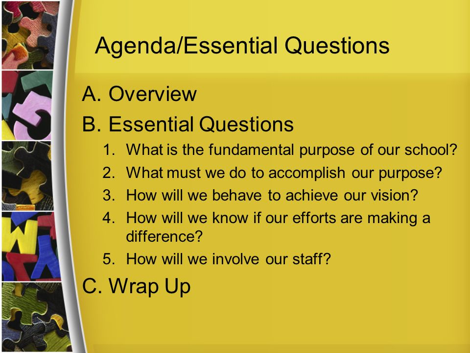 Agenda/Essential Questions