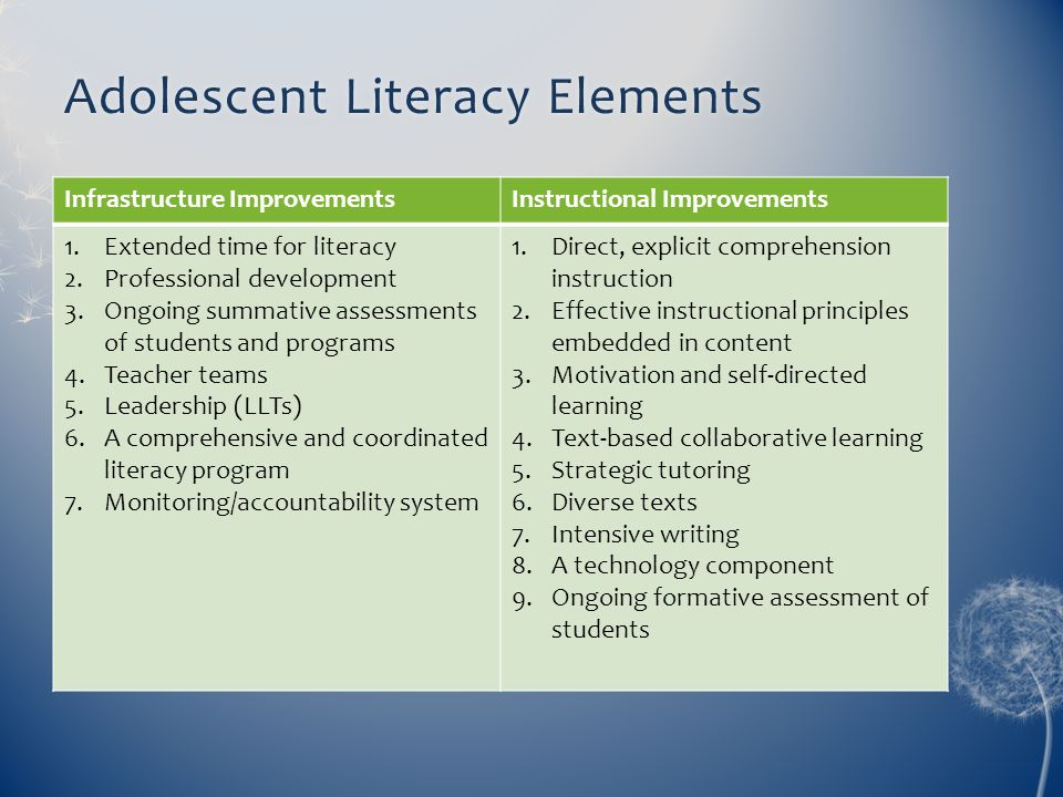 Adolescent Literacy Elements